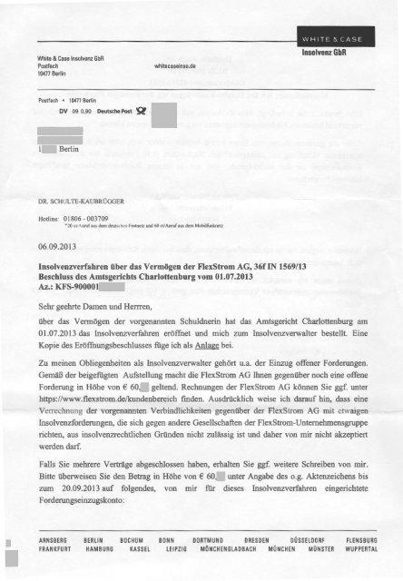Flexstrom Insolvenz Nachforderung Schreiben Inso Verw 06092013