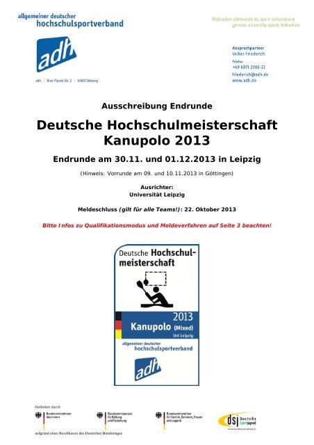 Ausschreibung DHM Kanupolo 2013 - Allgemeiner Deutscher ...