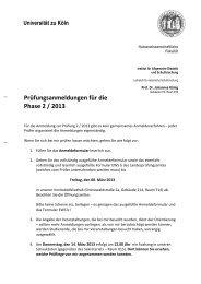 Anmeldung Prüfung II/2013 - Humanwissenschaftliche Fakultät