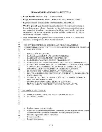 1 - 5 IDIOMA INGLES – PROGRAMA DE NIVEL 6 o Carga ... - IESE