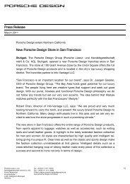 Press Release Store Opening SanFrancisco - PORSCHE DESIGN ...