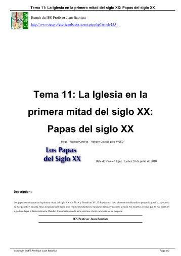 La Iglesia en la primera mitad del siglo XX - IES Profesor Juan ...