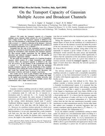 On the Transport Capacity of Gaussian Multiple Access and ... - NTNU