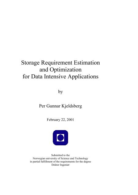 Storage Requirement Estimation and Optimization for Data Intensive ...