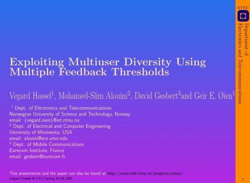 Exploiting Multiuser Diversity Using Multiple Feedback ... - NTNU