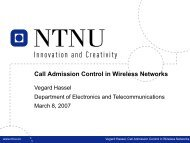 Call Admission Control in Wireless Networks - NTNU
