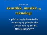 akustikk, musikk teknologi - NTNU