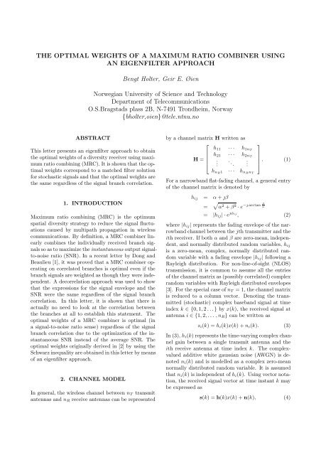 THE OPTIMAL WEIGHTS OF A MAXIMUM RATIO ... - NTNU
