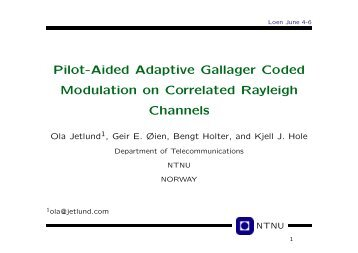 Pilot-Aided Adaptive Gallager Coded Modulation on ... - NTNU