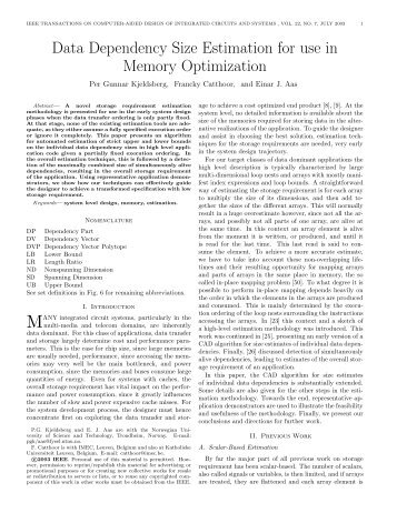 Data Dependency Size Estimation for use in Memory ... - NTNU