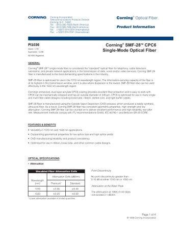 Corning® SMF-28TM CPC6 Single-Mode Optical Fiber