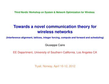 Towards a novel communication theory for wireless networks