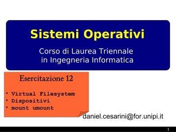 Filesystem, file /etc/fstab, mount, umount - Dipartimento di ...