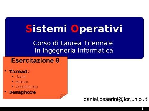 Sincronizzazione (join, mutex, condition), semaphore - Lucidi