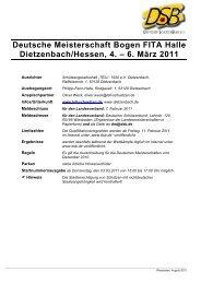 Deutsche Meisterschaft Bogen FITA Halle Dietzenbach/Hessen, 4 ...