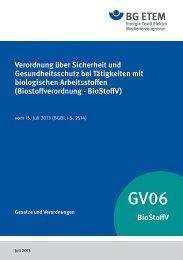 Verordnung über Sicherheit und Gesundheitsschutz ... - Die BG ETEM