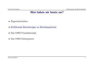 Was haben wir heute vor? - Universität Potsdam