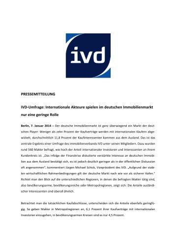 PRESSEMITTEILUNG IVD-Umfrage: Internationale Akteure spielen ...