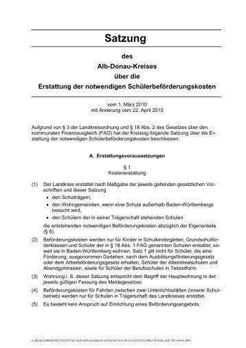 Satzung zur Erstattung notwendiger ... - Alb-Donau-Kreis