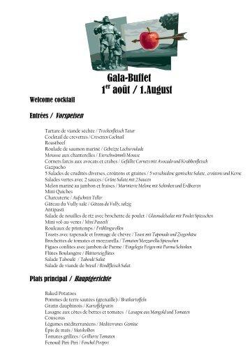 Gala-Buffet 1er août / 1.August - guidle