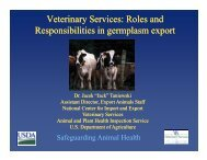 Veterinary Services: Roles and Responsibilities in germplasm export