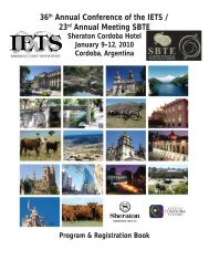 36th Annual Conference of the IETS / 23rd Annual Meeting SBTE