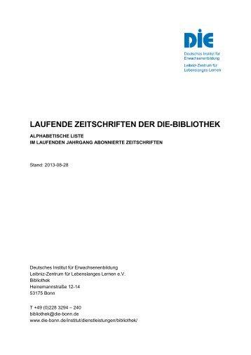 Laufende Zeitschriften der DIE-Bibliothek - Deutsches Institut für ...