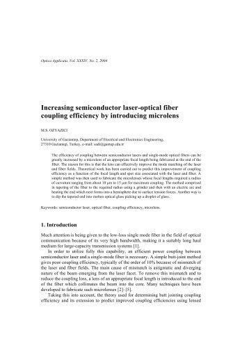 Increasing semiconductor laser-optical fiber coupling efficiency by ...