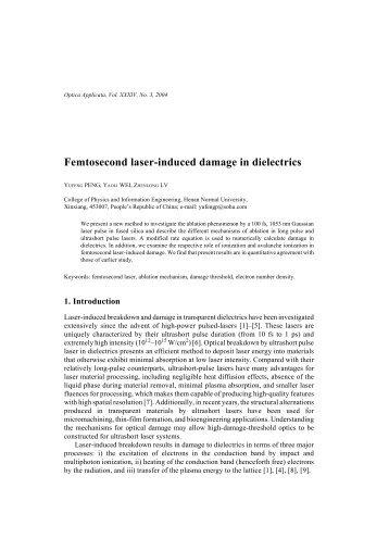 Femtosecond laser-induced damage in dielectrics