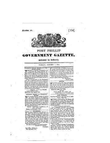 g PORT PHILLIP - Victoria Government Gazette