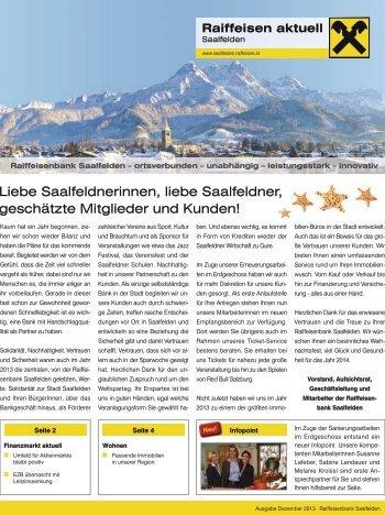 Ausgabe Dezember 2013 - Raiffeisenbank Saalfelden