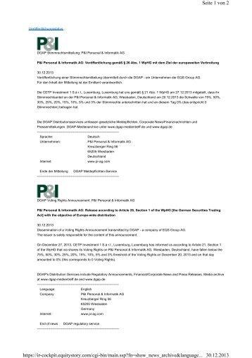 CETP Investment 1 S.à r.l - P&I Personal & Informatik AG
