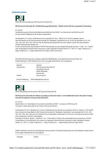 HgCapital LLP. - P&I Personal & Informatik AG