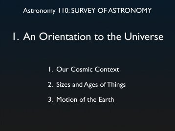 1. An Orientation to the Universe