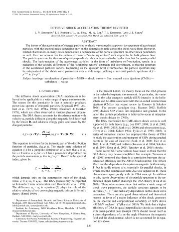 L81 DIFFUSIVE SHOCK ACCELERATION THEORY ... - IOPscience