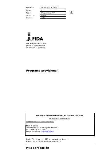 Para aprobación Programa provisional - IFAD