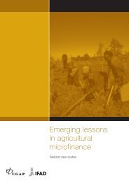 Emerging lessons in agricultural microfinance: Selected case - IFAD