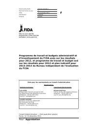 Pour: Approbation Programme de travail et budgets ... - IFAD