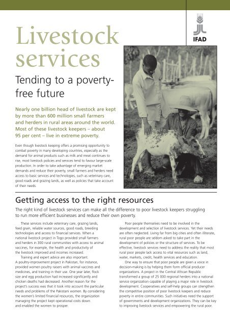 Livestock services factsheet - IFAD