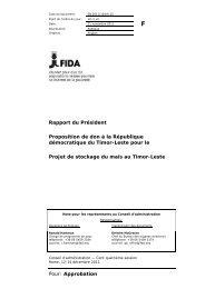 Pour: Approbation Rapport du Président Proposition de don à ... - IFAD