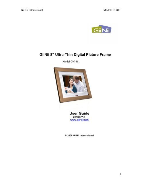 Giinii 8 Ultra Thin Digital Picture Frame User Guide Tigerdirectcom