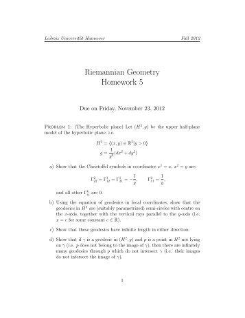 Homework 5 - IfAM - Leibniz Universität Hannover