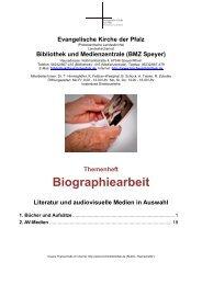 Biographiearbeit - Themenheft - Evangelische Kirche der Pfalz