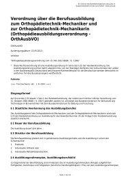 Verordnung über die Berufsausbildung zum Orthopädietechnik ...