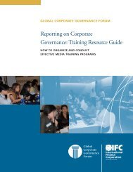 Reporting on Corporate Governance: Training Resource Guide - IFC