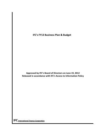 IFC's FY13 Business Plan & Budget