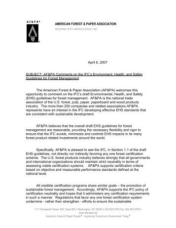 IFC-EHS-Forest Management-AFPA Letter_Apr6 2007_.pdf