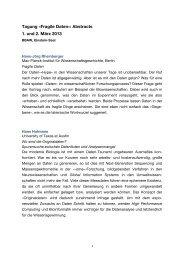 Tagung «Fragile Daten»: Abstracts 1. und 2. März 2013
