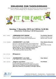 Sonntag, 7. November 2010 von 9.00 bis 16.30 Uhr