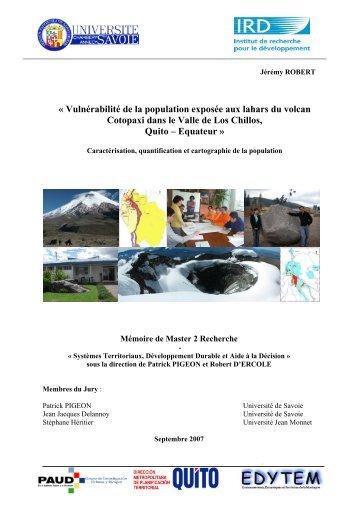 Vulnérabilité de la population exposée aux lahars du volcan ...